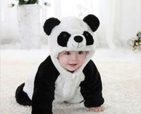 Wholesale Cute Babies Panda Costume - 2016 New Cute Animal Panda One Piece Long Sleeve Cotton Newborn Baby Romper Baby Costume Clothing Clothes