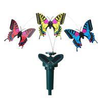 ingrosso decorazione farfalle giardino-Simulazione Farfalla Telecomando Solare Assemblaggio Novità Giocattoli Per Bambini Home Garden Decor Girevole Farfalle Regalo Creativo Hot 8cg KK