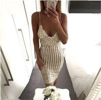 Wholesale Mini Mesh Flowers - Sexy Party Night sequin summer dress 2017 Women V neck elegent vintage dresses Shinning Gold sequined Flower Lace Mesh vestidos