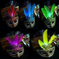 Wholesale Dance Mask Princess - 2017 New Flashing Leopard Fiber Feather Masks Light-Up Venice Princess Mask Women Girls Halloween Dance Party Supplies