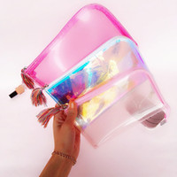 Wholesale chinese cosmetic cases - Girls Style Portable Transparent Glittering Cosmetic Bag Tassels Zipper Travel Make Up Bag Letter Makeup Case Pouch Toiletry Organizer