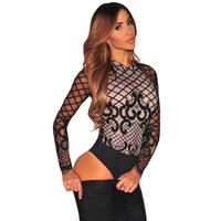 Wholesale Hollow Lace Jumpsuits - Sexy Lace up Back Women Bodysuit Long Sleeve Hollow Out Black Jumpsuit For Women Fashion O Neck Party Female Bodysuit Free Shipping