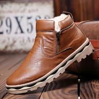 Wholesale Wholesale Men Cowboy Boots - New Hot Sale Winter Men Plush Shoes Double Zippers Warm Casual Male Shoes Men Fashion Leather Ankle Snow Boots Man Toolling Shoes Flats