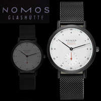 Wholesale Thin Strips Stainless Steel - Ultra thin Simple casual men watches 2017 Hot Sale Business Steel strip watches German luxury brand NOMOS mens leather strap watches