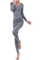 Wholesale Thermal Women Pajama - Wholesale- Women Round Neck Thermal Set Winter Tops&Pants Long Johns Pajama Sets Gray