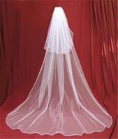 beyaz swarovski gelinlik toptan satış-Uzun İki Katmanlar Ucuz Tül Gelin Veils Beyaz Iovry Tarak ile Düğün Peçe Velos De Novia Düğün Aksesuarları