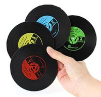 Wholesale Drop Ship Vinyl - FBA Custom Logo Drop Shipping Retro Vinyl CD Record Drinks Coasters Table Cup Mat Coffee Placemat Silicone Printed Pattern