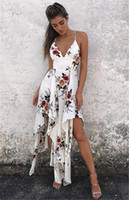 Wholesale long beach summer maxi dress - fashion bohemian summer sexy deep v neck long maxi dress floral print casual loose sleeveless elegant boho beach dress white women clothing