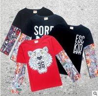 Wholesale Baby Girl Tattoos - Baby Animal Tattoo Pattern Sleeve Mesh Baby Boys Girls T shirts Boys t shirt Children Tattoo t Shirts Kids Clothing Summer Kids Tops
