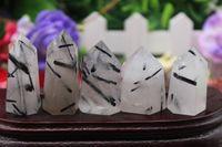 Wholesale Crystal Magic Wands - 5PCS 108 grams of natural quartz crystal black hair crystal healing magic wand point