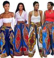 Wholesale Lady Legging Patterned - 2017 new women wide leg pants Casual High Waist Flare Palazzo Trousers Boho Vintage ladies Dashiki Leggings M-2XL