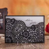 Wholesale Elegant Wedding Invitation Cards - Engagement Black Lace Flower Flora Wedding Invitations Elegant Hollow Laser Cut Birthday Party Invite Cards JK245