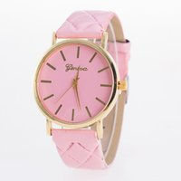 Wholesale Plastic Band Black For Watch - 100pcs 2017 New Fashion Geneva watch Ladies Brand Leather Band Watch Quartz for Women watch