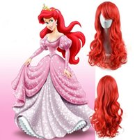 Wholesale Red Anime Wig - The Little Mermaid Princess Ariel Wig Long Curly Wavy Red Synthetic Anime Cosplay Wig Lovely Heat Resistant Wig for Sexy Ladies