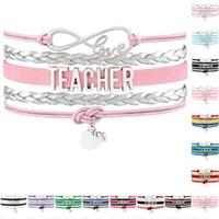 Wholesale Pink Apple Jewelry - Infinity Love Teach Teacher Apple Charm Bracelets For Women Men Jewelry Gold Pink Black Wax Leather Wrap Bracelet