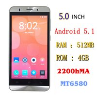 Wholesale Cheapest 3g Dual Camera Phone - The Cheapest cell phone 5 inch android 5.1 3g dual sim card smart phone 512mb 4gb mtk6580 phone 2200mah battery