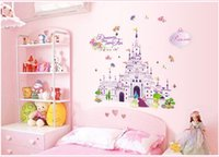 Wholesale Little Girls Wall Decor - pvc fashion Creative DIY wall sticker kids bedroom decoration Carved Removable pink castle little girl gift art Sticker Decor 2017 Wholesale