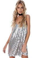 Wholesale women dress skirt wind - The new European and American wind sexy modern sequins v-neck spaghetti straps, backing the harness dress skirt