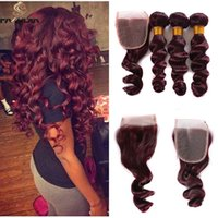 Wholesale human loose curl hair bundles resale online - Brazilian human hair lace front with bundles loose curl burgundy wine red deep bundles with closure hair extension for african american