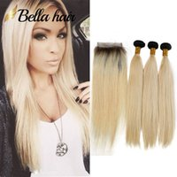 Wholesale black honey blonde ombre online - Bella Hair A Straight B Black Root with Honey Blonde Human Hair Weave Bundles and Closure with BabyHair Ombre b Extensions
