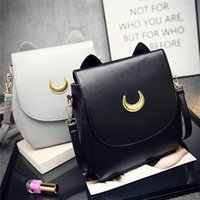 Wholesale White Cat Backpack - 2017 sailor moon lovely PUbackpack luna cat fashion double back leisure traveling bag New women backpack