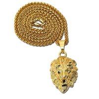 2017 Moda Gold Lion Head Charm 29.5inch Link Chain Hip Hop Jóias Mens Golden Crown King Lion Pendant Necklace