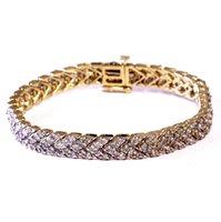Wholesale Estate Tennis Bracelets - 14k yellow gold 6ct diamond tennis bracelet 21.8g vintage estate antique
