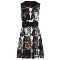 Wholesale Tiger Leopard Dresses - Brand Designer Tiger Print Women Dress 2017 Fashion Style Autumn Leopard Turn Down Collar Sleeveless Rivet Sashes Dress