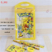 Enfants Crayon Sac Étui Étudiant Papeterie Set PVC Transparent School Bag Enfants Cartoon Pikachu Ruler Pencil Notebooks Sharpener Eraser NOUVEAU