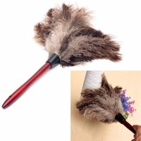Wholesale Car Duster Case - 1pcs 55cm Ostrich Bird Feather Duster Car Dust Cleaner Brush With Wood Handle Anti-static Cleaning Tool