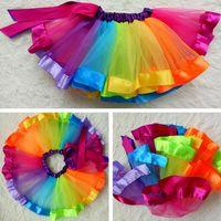 Wholesale Dresses Latin Children - 2017 New Arrival Rainbow Yarn Tutu Skirt Children Dance Dress Girls Performance Poncho Skirt Colorful Sequins Ballet Latin Dancewear,S M L