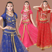 Wholesale belly dancing outfits - New 4pcs Set Belly Dance Costume Bollywood Costume for Female Indian Dress Belly dance Dress Womens Belly Dancing Costume Outfits