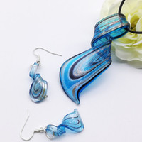 Wholesale Lampwork Glass Pendants Wholesale China - 5 sets Blue Lampwork Glass Murano Pendant Necklace Earrings FASHION
