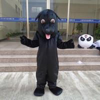 yetişkin köpek takım elbisesi kostümü toptan satış-Yüksek Kalite Büyük Siyah Köpek Yetişkin Boyutu Maskot Kostüm Partisi Fantezi Elbise Performansı Takım Elbise Köpek Konfeksiyon Ücretsiz Kargo