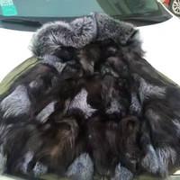 Wholesale Long Fur Lined Coat Women - Lavish fur Mr Mrs itlay silver fox fur lining black long jackets with logo embroidery Mr Mrs furs women winter snow coats