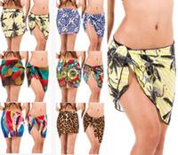 Wholesale Skirt China Wholesale - Women's Chiffon cover skirt colorful Swimdress Bikini cover-ups Fashion Bodysuit summer beachdress Leopard Leaves free ship china