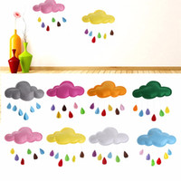 Wholesale Kids Rain Wall Stickers - Kids Play Tent Decoration Tent Props Toy Raining Clouds Water Drop Star Moon Baby Bed Room Hanging Decor Wall Stickers