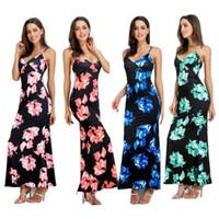Wholesale Maxi Dress Nightclub - Summer Dress Fashion Flower Print Sleeveless Mermaid Long Tank Dress Vestidos Women Sexy Nightclub Maxi Dresses Bodycon #Y