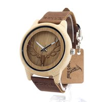 Wholesale Watch Head Wholesale - Coffee Leather Watch Hollow Deer Head Fashion Men's Wooden Quartz Movement Watch Mens Sports Self-wind Watches Wristwatch SY-WD249