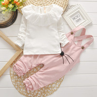Wholesale Drop Shipping Wholesalers Baby Clothing - 2 Pieces Baby Girl Set Long Sleeves Lace T-Shirts Spring Autumn Kids Clothing Sets#20170727-1 Drop Shipping