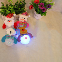Wholesale led deer christmas - Lovely Santa Clause Dress Led Night decoation Merry Christmas Snowman Gift Wrap Deer small pendant christmas decoration light