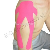 Wholesale Physical Support - Wholesale- Pre Cut Kinesiology Tape for Shoulder Sports Support Physical Therapy Muscle Tape 4pcs lot Free Shipping