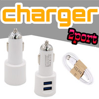 Wholesale Bags For Cars - Mini Dual Car Chargers Portable Charger Universal Adapter For Iphone8 Samsung note8 2USB Car Charging Free package Opp bag