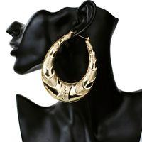 pendiente grande grande de oro al por mayor-Al por mayor-Oro Gran Círculo grande de Metal Pendientes de aro de bambú para las mujeres Joyería moda hip hop exagerar pendientes venta caliente