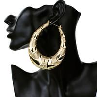 satılık büyük küpeler toptan satış-Toptan-Altın Büyük Büyük Metal Daire Bambu Hoop Küpe Kadınlar Takı için moda hip hop abartılı küpe sıcak satış