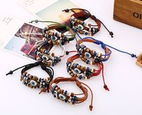 Wholesale Silver Chain Turkey - Mix 14 Colors Hot Sale Wholesale Girls and Femme Hand-woven Blue Eye Turkey Evil Eye Leather Bracelets Bangle Amulet for Men Free Shipping