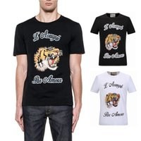 Wholesale Sleeves Stretch - 2017 NEW Hot Sale T-Shirt Men Shortsleeve Stretch Cotton Jersery Tee Men's Embroidery Tiger Printed Bird Snake Crew Collar Casual Tops Male