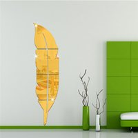 bedroom dressing mirrors 2018 - Bjg Feather dressing mirror wall stickers Creative Home Decor DIY Carved bathroom Removable Decorate art wall 2017 3d stickers wholesale