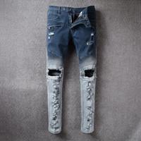 Wholesale Cotton Leisure Trousers - 2017 New World Famous Designer Brand Frayed Broken Holes Design Men Drape Panel Motorcycle Jeans Cowboy Denim Pants Leisure Trousers