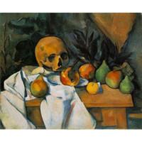 abstrakte schädelmalereien großhandel-Abstrakte Landschaften Gemälde Paul Cezanne Stillleben mit Totenkopf handgemalte Leinwand Kunst hoher Qualität